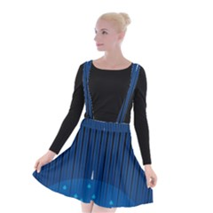 Rain Blue Sky Water Black Line Suspender Skater Skirt