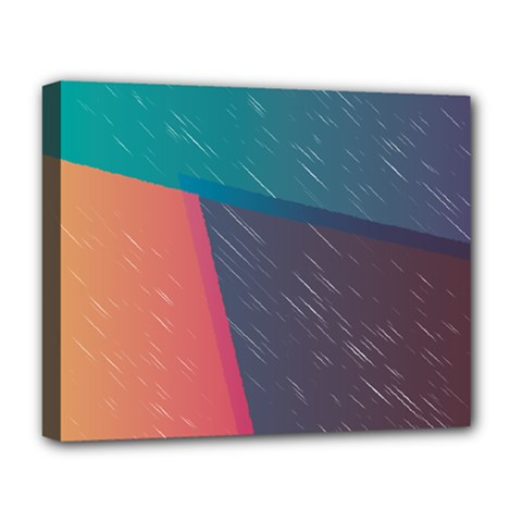 Modern Minimalist Abstract Colorful Vintage Adobe Illustrator Blue Red Orange Pink Purple Rainbow Deluxe Canvas 20  x 16