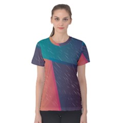 Modern Minimalist Abstract Colorful Vintage Adobe Illustrator Blue Red Orange Pink Purple Rainbow Women s Cotton Tee