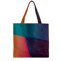 Modern Minimalist Abstract Colorful Vintage Adobe Illustrator Blue Red Orange Pink Purple Rainbow Zipper Grocery Tote Bag