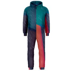 Modern Minimalist Abstract Colorful Vintage Adobe Illustrator Blue Red Orange Pink Purple Rainbow Hooded Jumpsuit (Men)