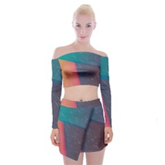 Modern Minimalist Abstract Colorful Vintage Adobe Illustrator Blue Red Orange Pink Purple Rainbow Off Shoulder Top With Skirt Set