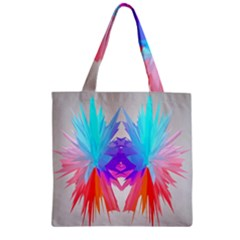 Poly Symmetry Spot Paint Rainbow Zipper Grocery Tote Bag