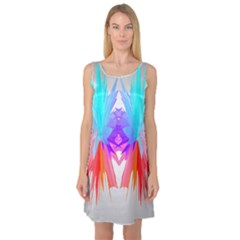 Poly Symmetry Spot Paint Rainbow Sleeveless Satin Nightdress