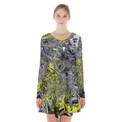 Colors Long Sleeve Velvet V-neck Dress