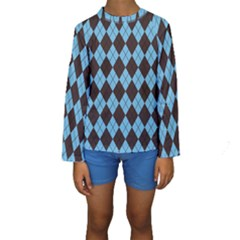 Plaid pattern Kids  Long Sleeve Swimwear