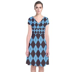 Plaid pattern Short Sleeve Front Wrap Dress