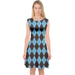 Plaid pattern Capsleeve Midi Dress