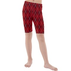 Plaid pattern Kids  Mid Length Swim Shorts