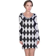 Plaid pattern Long Sleeve Nightdress