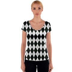 Plaid pattern Women s V-Neck Cap Sleeve Top