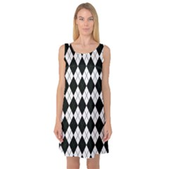 Plaid pattern Sleeveless Satin Nightdress