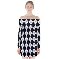 Plaid pattern Long Sleeve Off Shoulder Dress