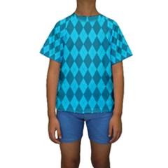 Plaid pattern Kids  Short Sleeve Swimwear