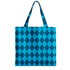 Plaid pattern Zipper Grocery Tote Bag