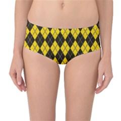 Plaid pattern Mid-Waist Bikini Bottoms