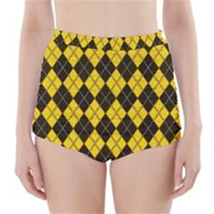 Plaid pattern High-Waisted Bikini Bottoms