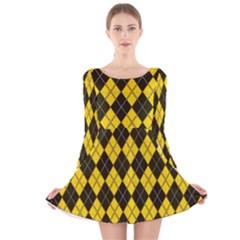Plaid pattern Long Sleeve Velvet Skater Dress