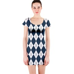 Plaid pattern Short Sleeve Bodycon Dress