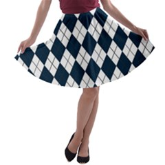Plaid pattern A-line Skater Skirt