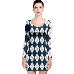 Plaid pattern Long Sleeve Velvet Bodycon Dress