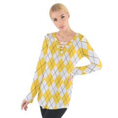 Plaid pattern Women s Tie Up Tee