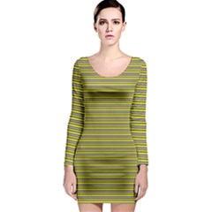 Lines pattern Long Sleeve Bodycon Dress