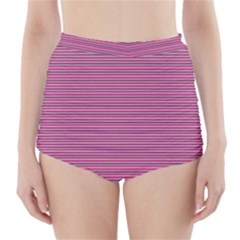 Lines pattern High-Waisted Bikini Bottoms