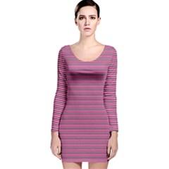 Lines pattern Long Sleeve Velvet Bodycon Dress