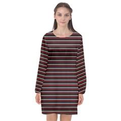 Lines Pattern Long Sleeve Chiffon Shift Dress