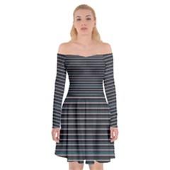 Lines Pattern Off Shoulder Skater Dress
