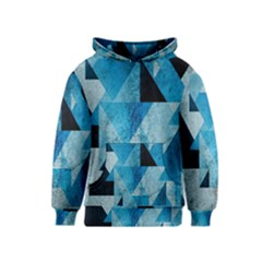 Plane And Solid Geometry Charming Plaid Triangle Blue Black Kids  Pullover Hoodie