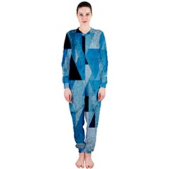 Plane And Solid Geometry Charming Plaid Triangle Blue Black OnePiece Jumpsuit (Ladies)