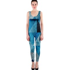Plane And Solid Geometry Charming Plaid Triangle Blue Black OnePiece Catsuit