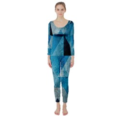 Plane And Solid Geometry Charming Plaid Triangle Blue Black Long Sleeve Catsuit