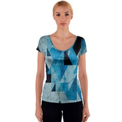 Plane And Solid Geometry Charming Plaid Triangle Blue Black Women s V-Neck Cap Sleeve Top