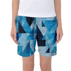 Plane And Solid Geometry Charming Plaid Triangle Blue Black Women s Basketball Shorts