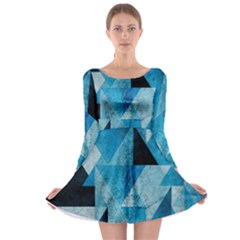 Plane And Solid Geometry Charming Plaid Triangle Blue Black Long Sleeve Skater Dress