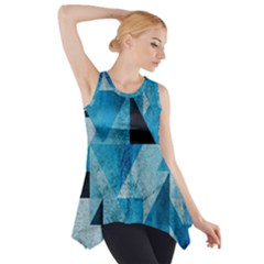 Plane And Solid Geometry Charming Plaid Triangle Blue Black Side Drop Tank Tunic