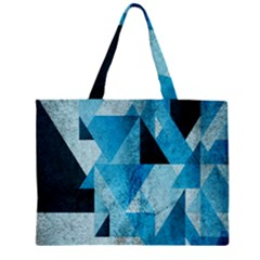 Plane And Solid Geometry Charming Plaid Triangle Blue Black Large Tote Bag