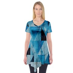 Plane And Solid Geometry Charming Plaid Triangle Blue Black Short Sleeve Tunic
