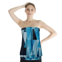 Plane And Solid Geometry Charming Plaid Triangle Blue Black Strapless Top