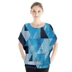 Plane And Solid Geometry Charming Plaid Triangle Blue Black Blouse