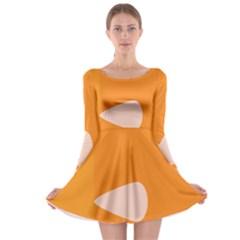 Screen Shot Circle Animations Orange White Line Color Long Sleeve Skater Dress