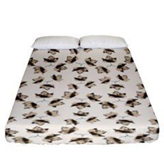 Autumn Leaves Motif Pattern Fitted Sheet (King Size)