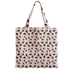 Autumn Leaves Motif Pattern Zipper Grocery Tote Bag