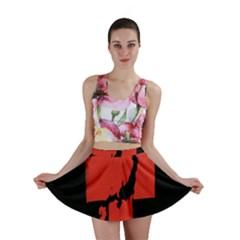 Sign Health Red Black Mini Skirt