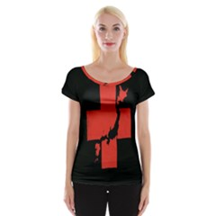 Sign Health Red Black Women s Cap Sleeve Top