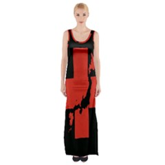 Sign Health Red Black Maxi Thigh Split Dress