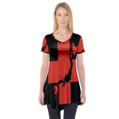 Sign Health Red Black Short Sleeve Tunic